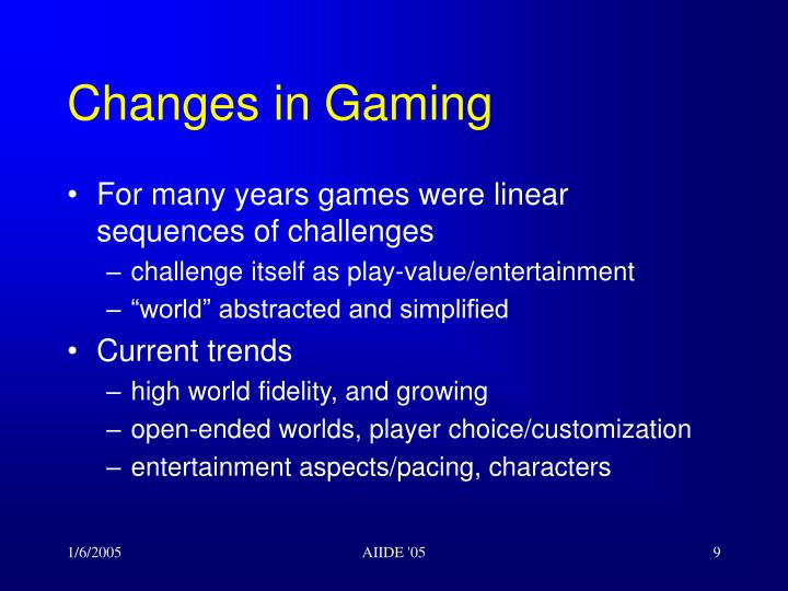 Changes in Gaming