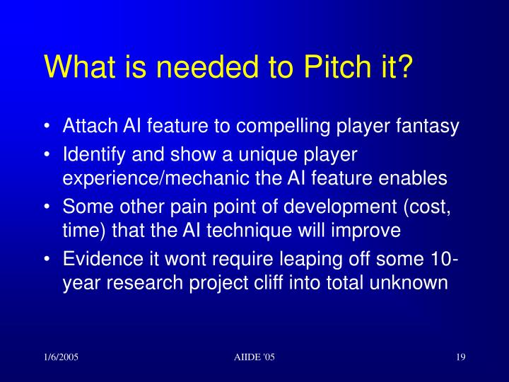 What is needed to Pitch it?
