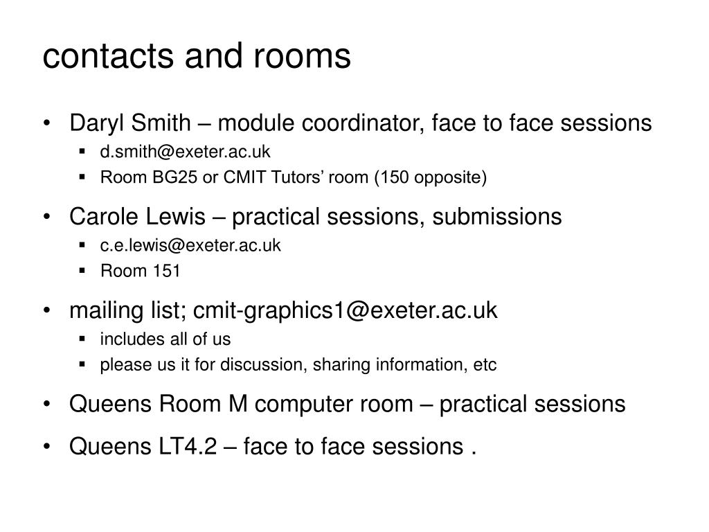 contacts and rooms