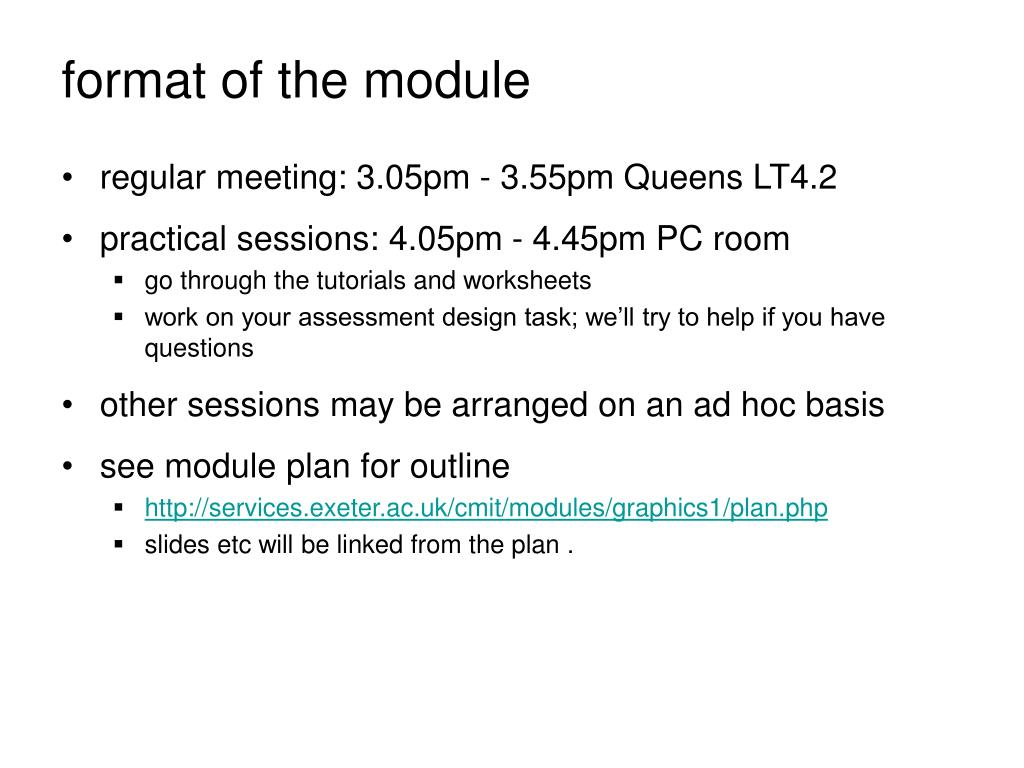 format of the module