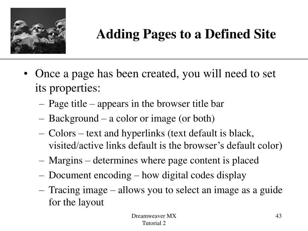 Adding Pages to a Defined Site