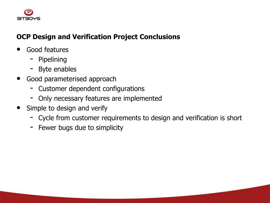 OCP Design and Verification Project Conclusions