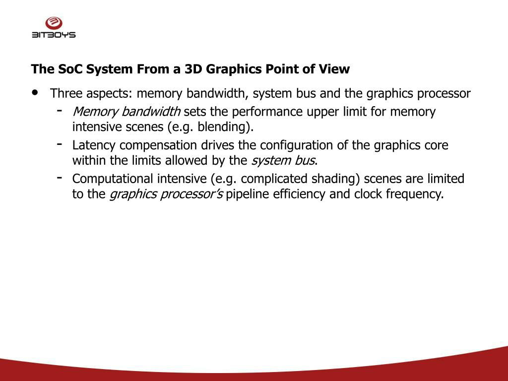 The SoC System From a 3D Graphics Point of View