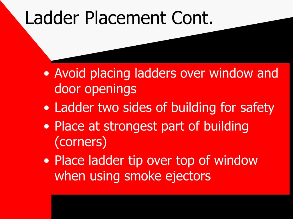 Ladder Placement Cont.