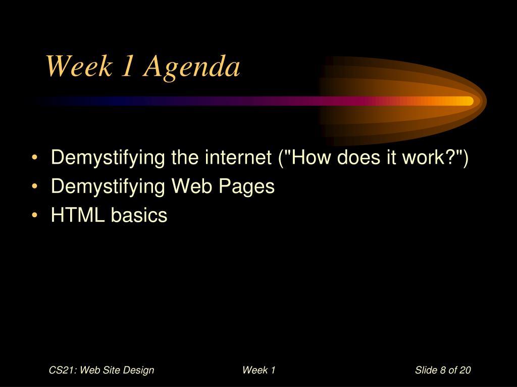 Week 1 Agenda