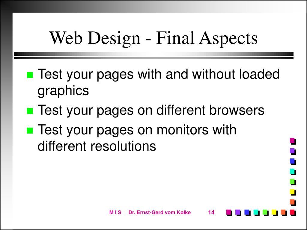 Web Design - Final Aspects