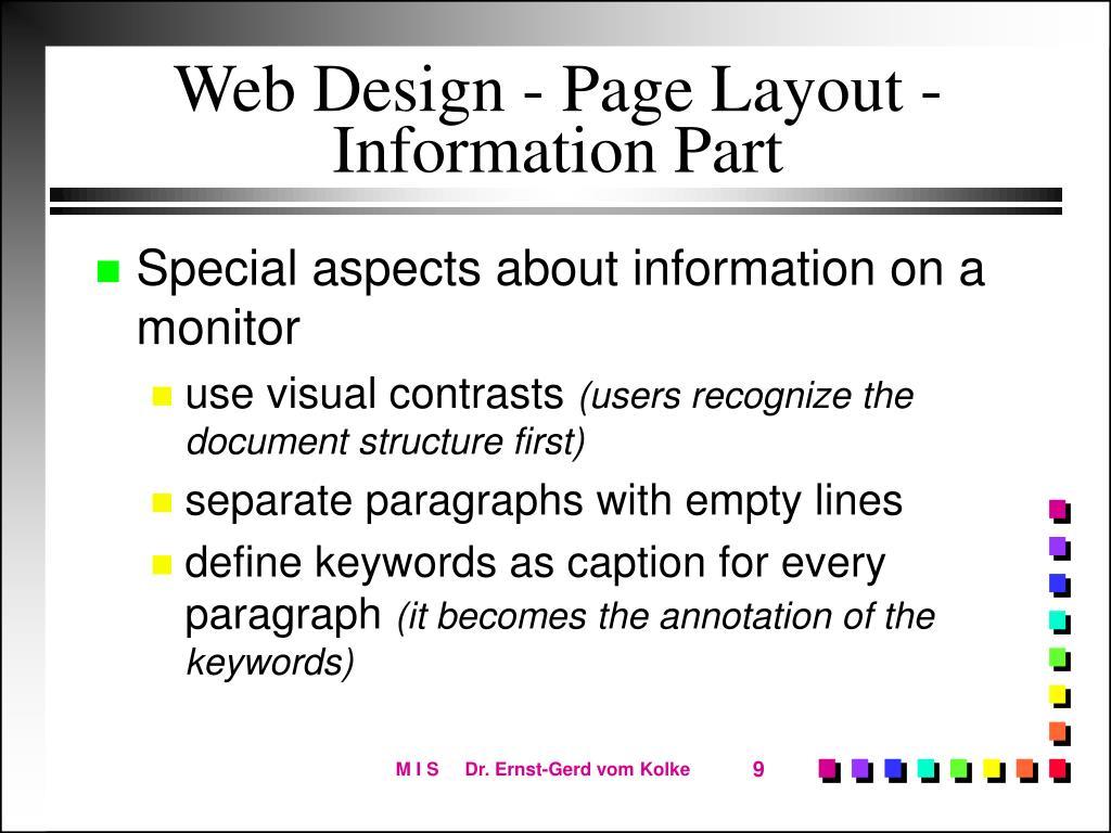 Web Design - Page Layout - Information Part