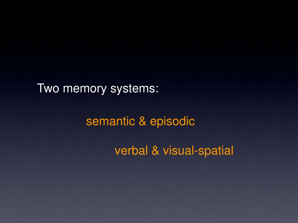 Two memory systems: