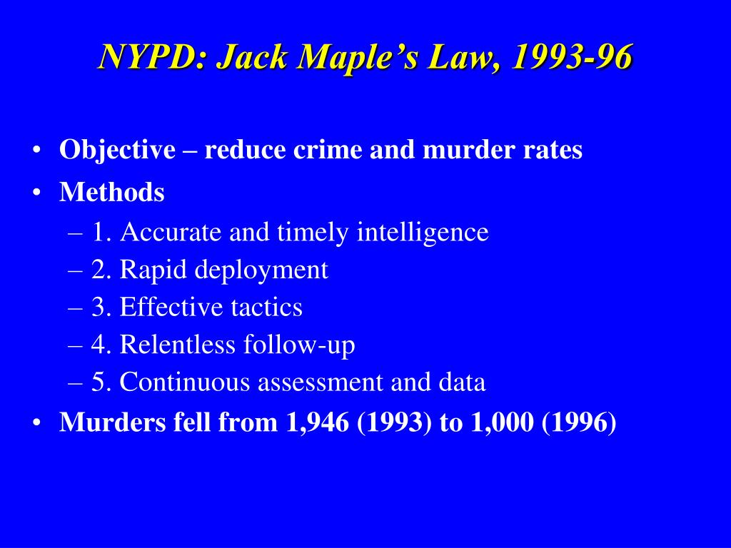 NYPD: Jack Maple's Law, 1993-96