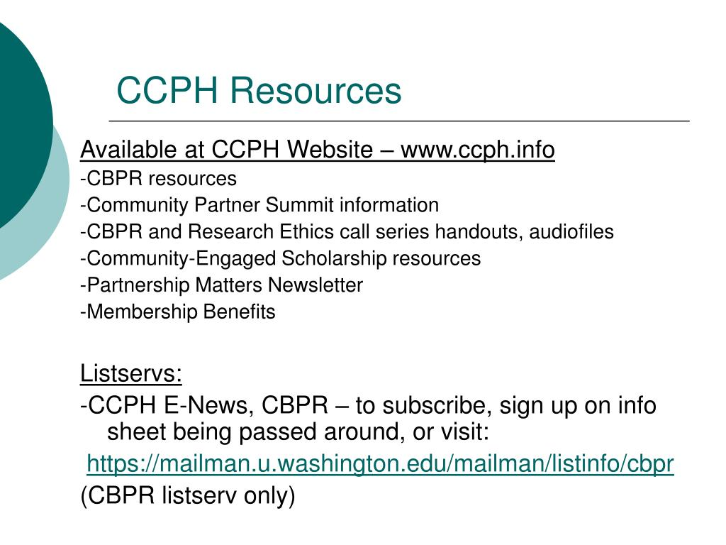 CCPH Resources