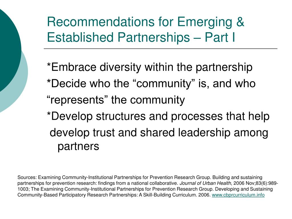 Recommendations for Emerging & Established Partnerships – Part I