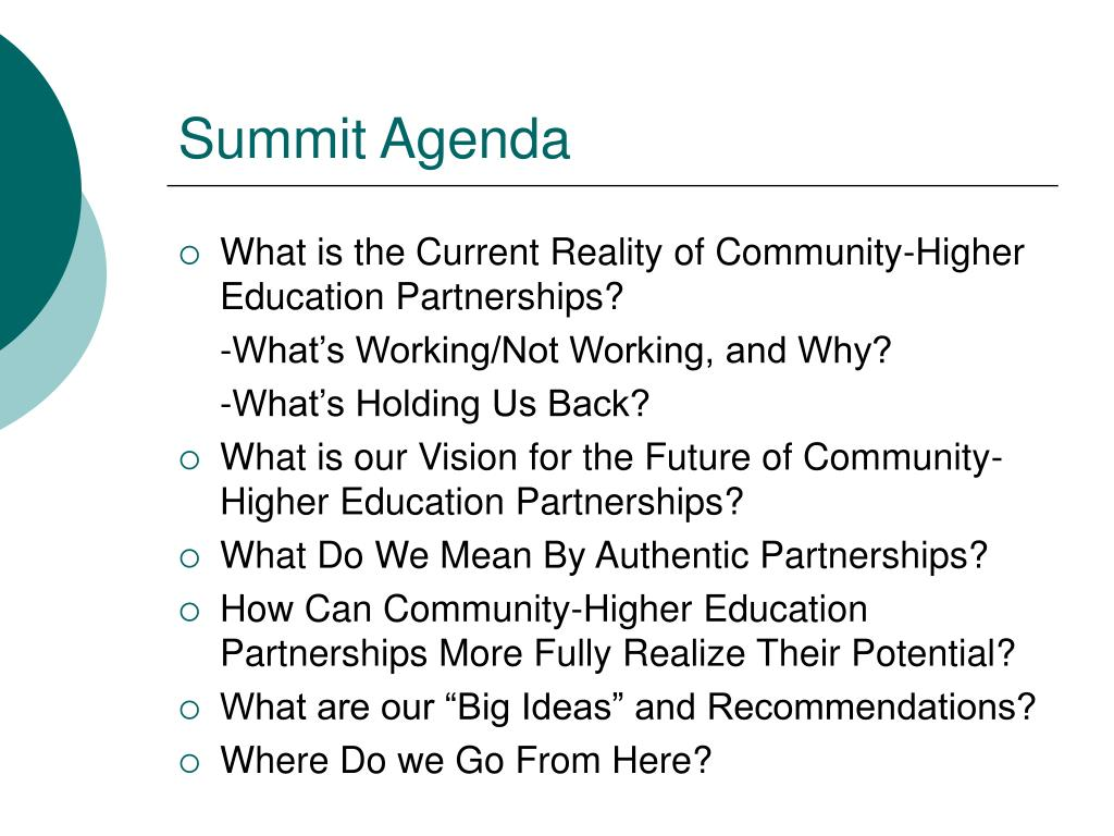 Summit Agenda