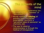 the contents of the mind