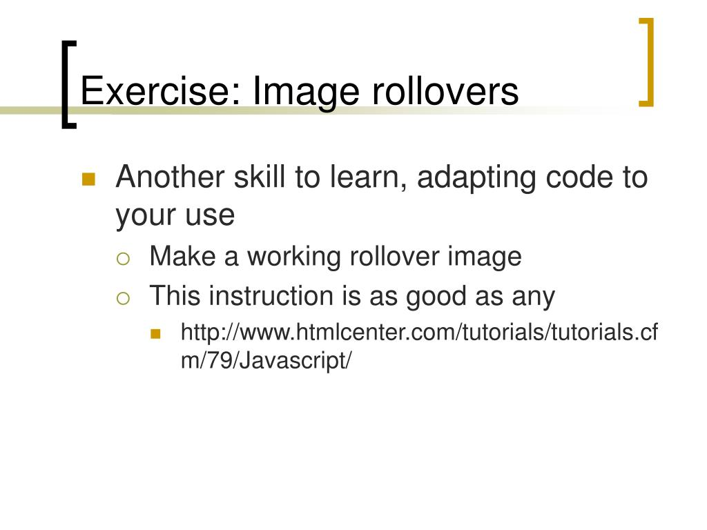 Exercise: Image rollovers