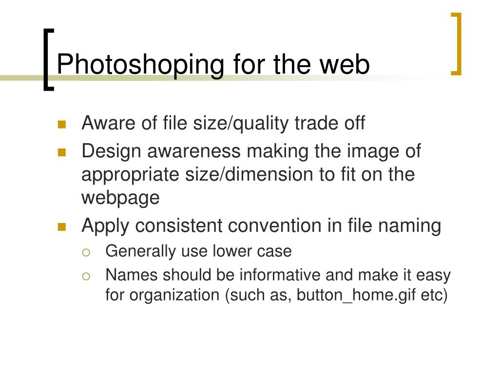 Photoshoping for the web