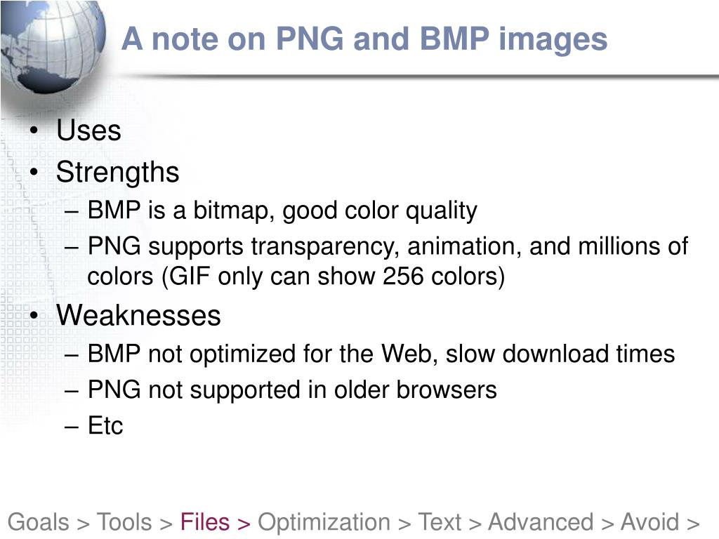 A note on PNG and BMP images