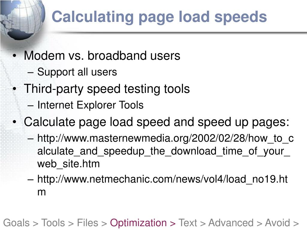 Calculating page load speeds