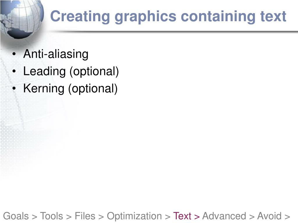Creating graphics containing text