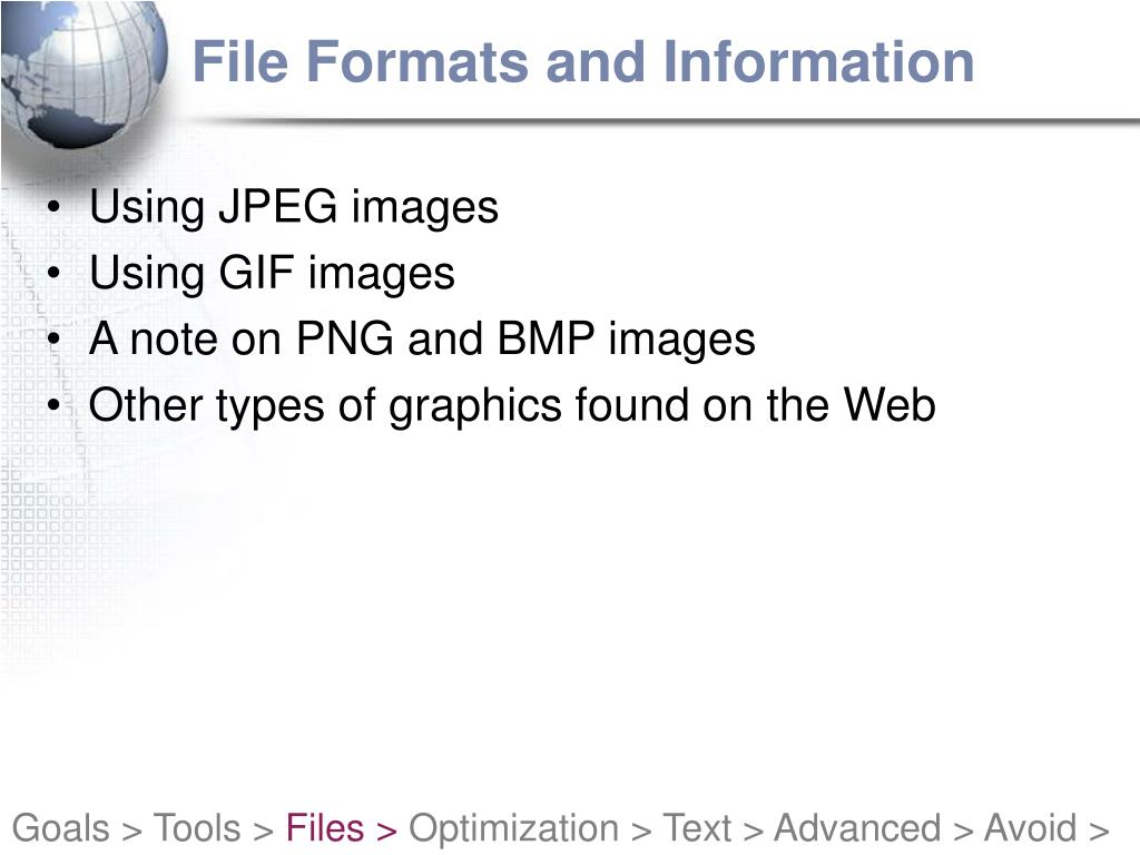 File Formats and Information