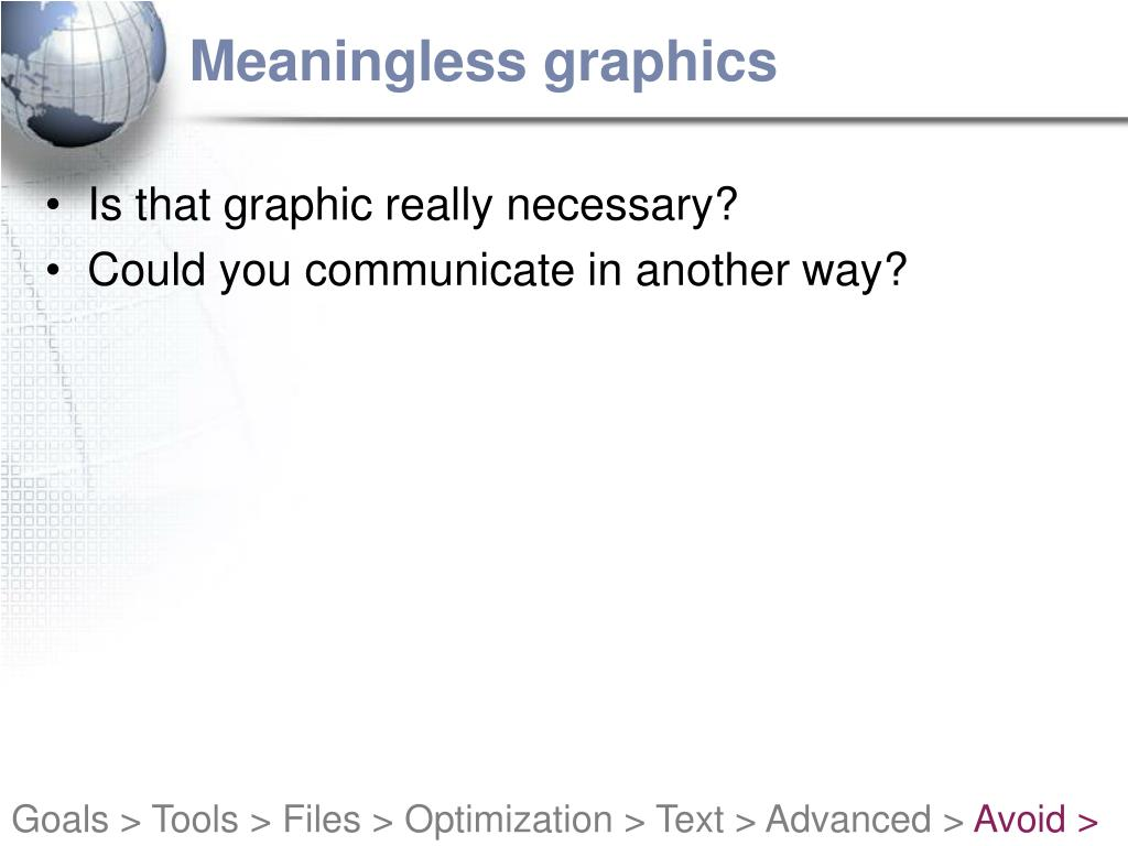 Meaningless graphics
