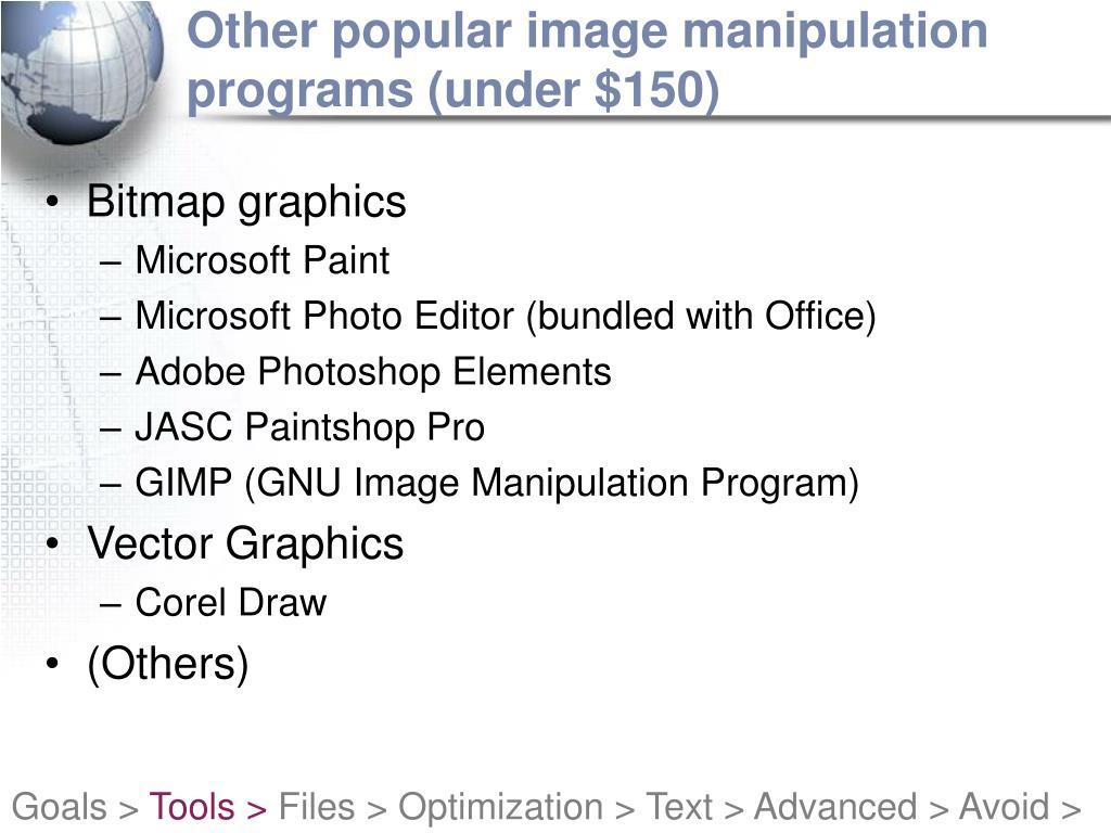 Other popular image manipulation programs (under $150)