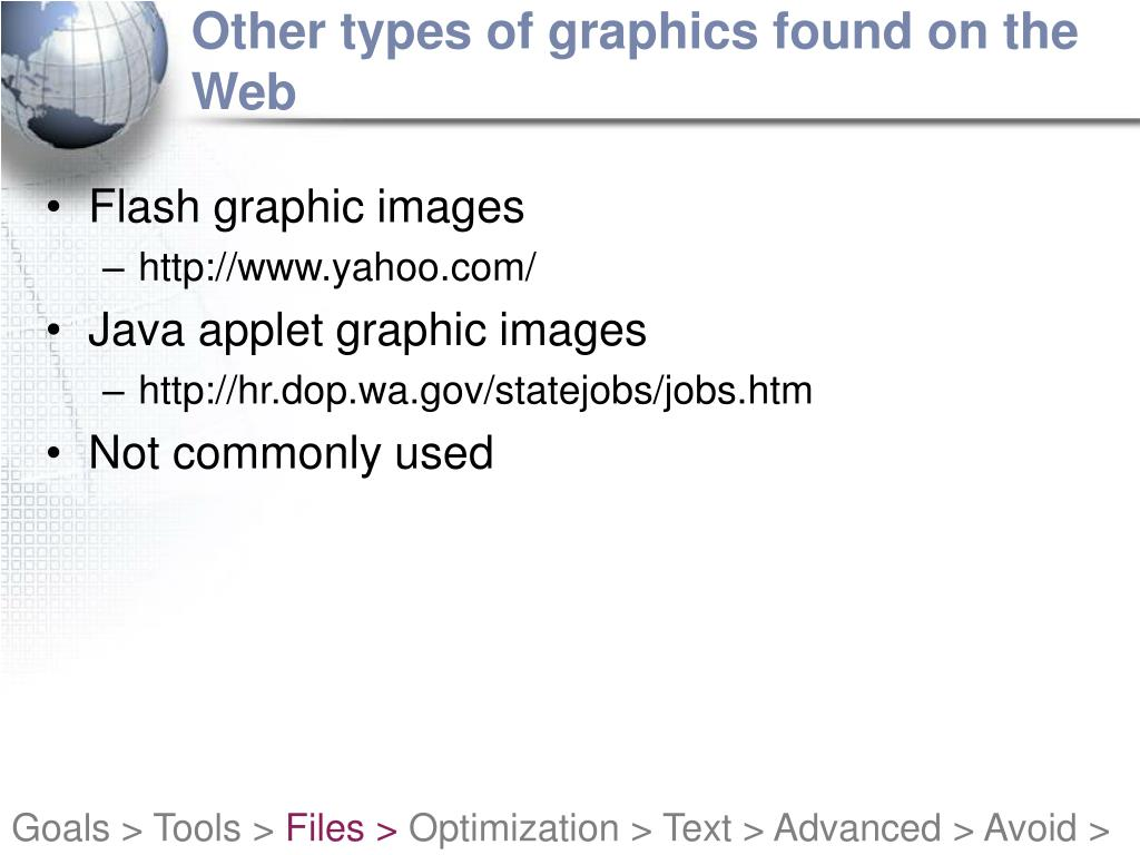 Other types of graphics found on the Web
