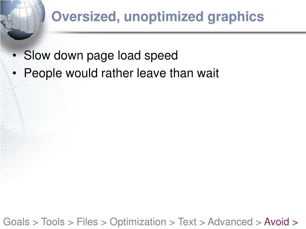 Oversized, unoptimized graphics
