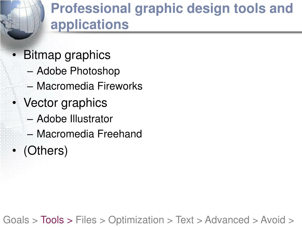 Professional graphic design tools and applications