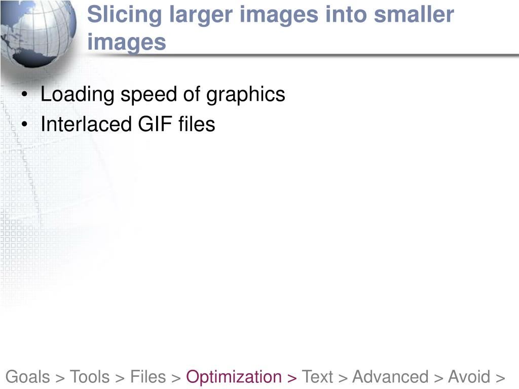Slicing larger images into smaller images
