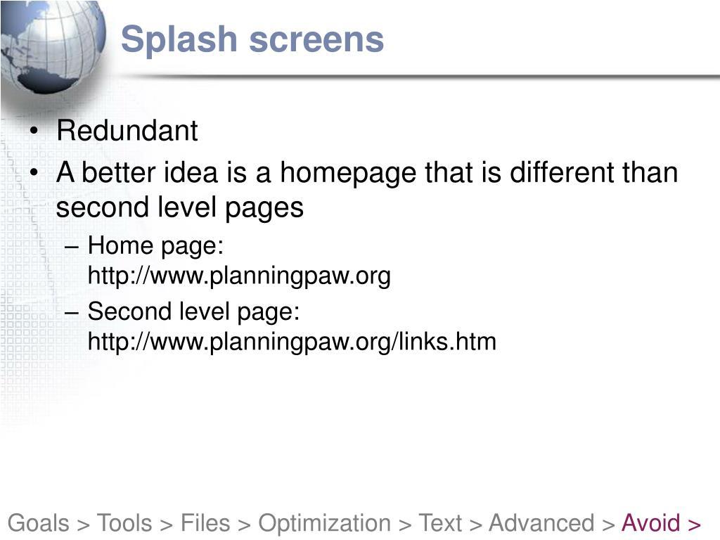 Splash screens
