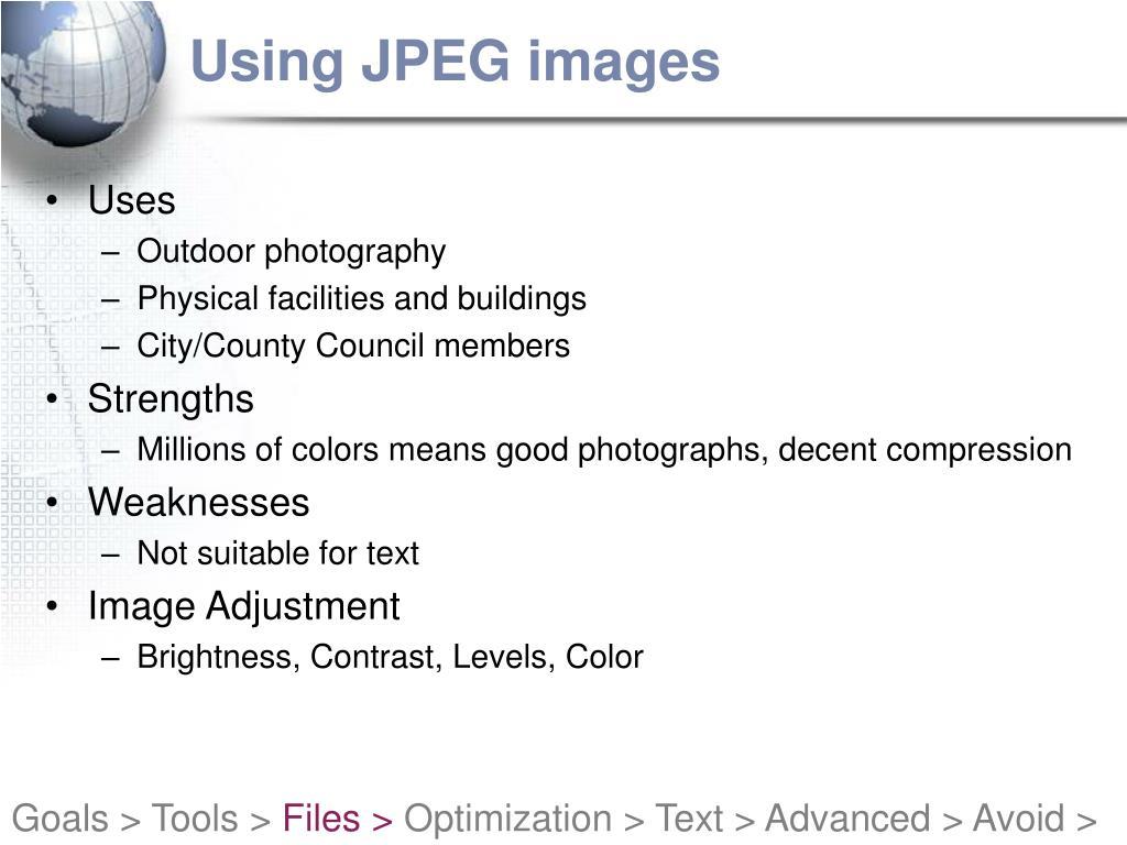 Using JPEG images