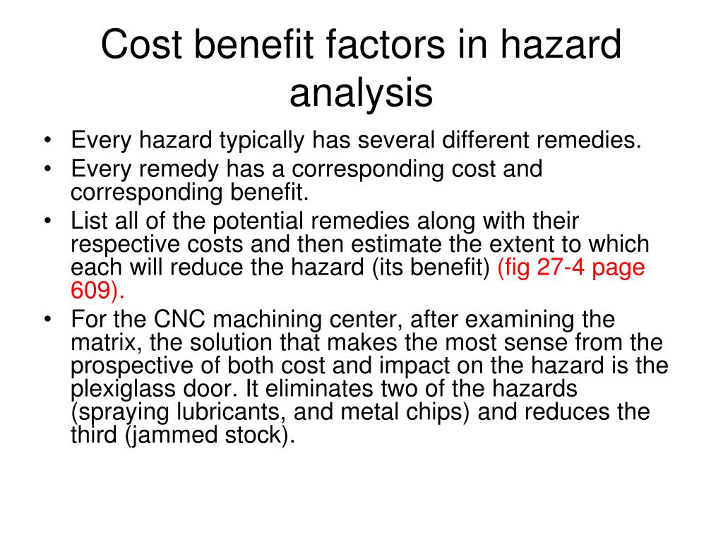 Cost benefit factors in hazard analysis