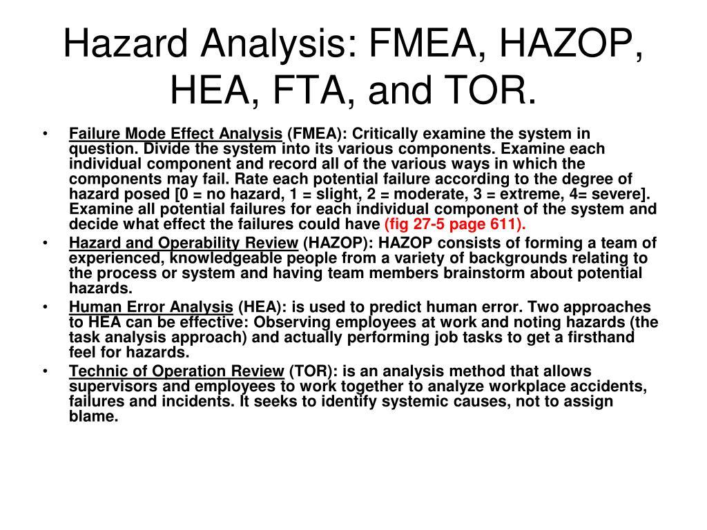 Hazard Analysis: FMEA, HAZOP, HEA, FTA, and TOR.
