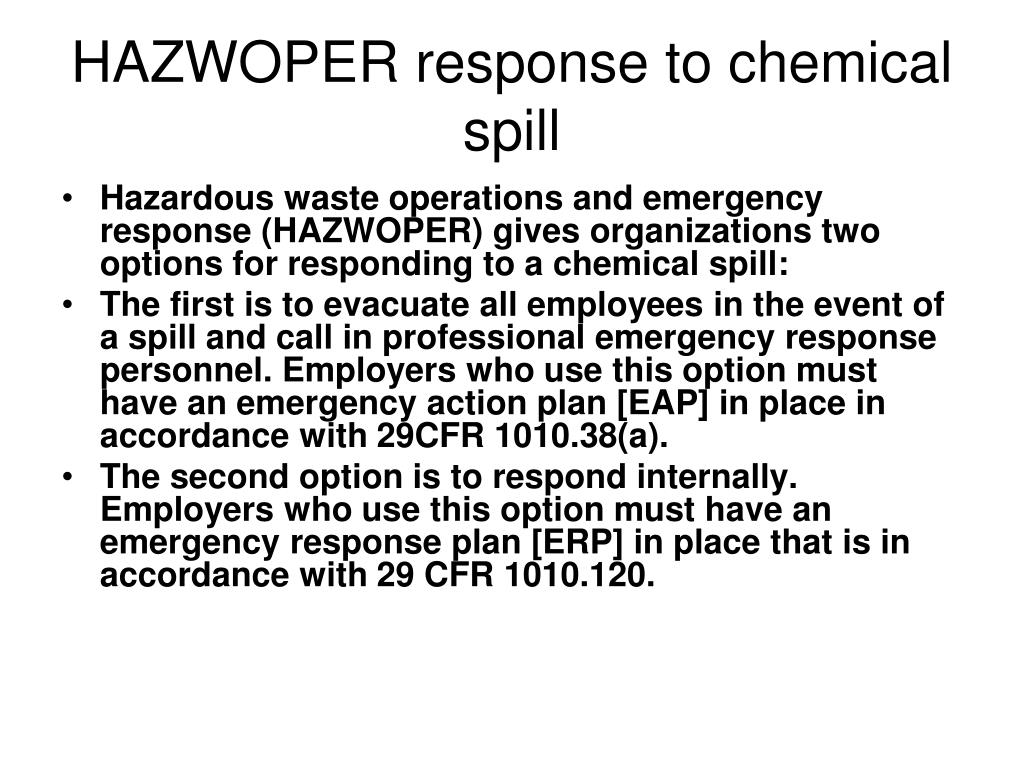HAZWOPER response to chemical spill