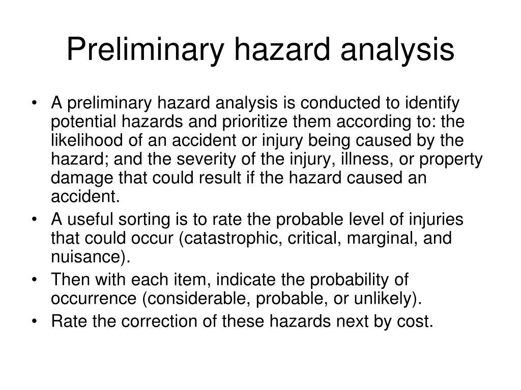 Preliminary hazard analysis