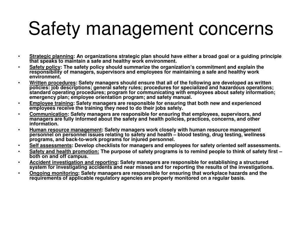 Safety management concerns
