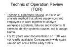 technic of operation review tor