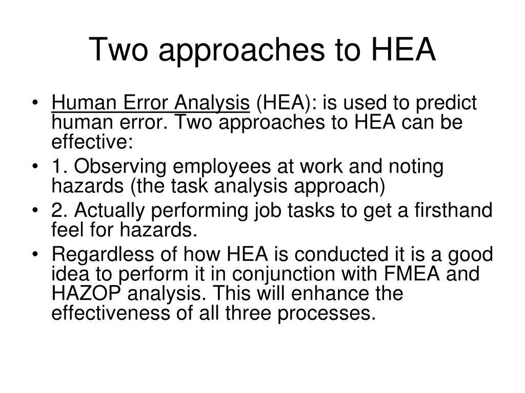 Two approaches to HEA