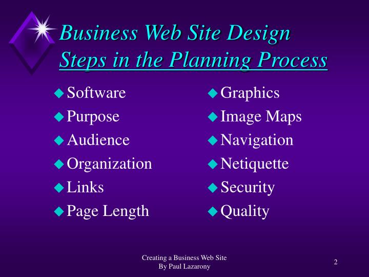 Business web site design steps in the planning process