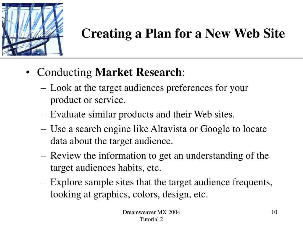 Creating a Plan for a New Web Site