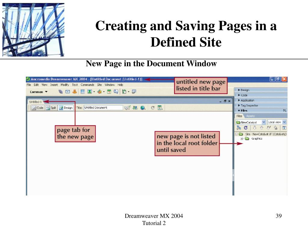 Creating and Saving Pages in a Defined Site