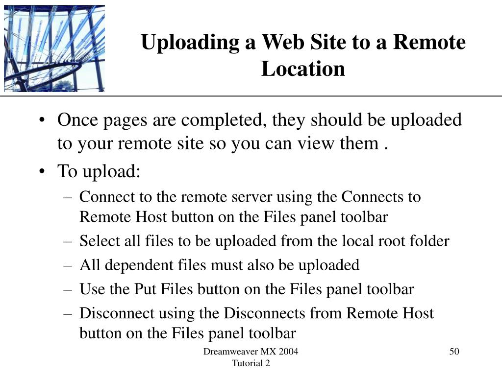 Uploading a Web Site to a Remote Location