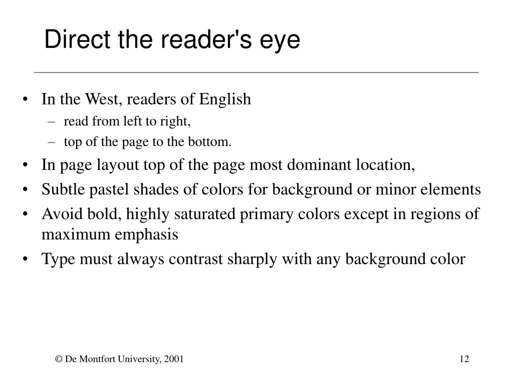 Direct the reader's eye