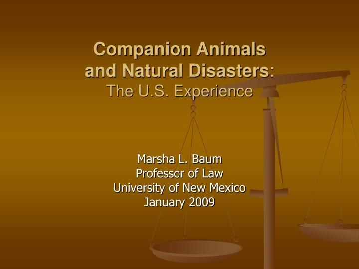 Companion animals and natural disasters the u s experience