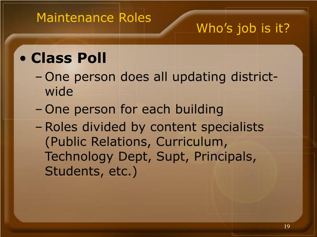 Maintenance Roles