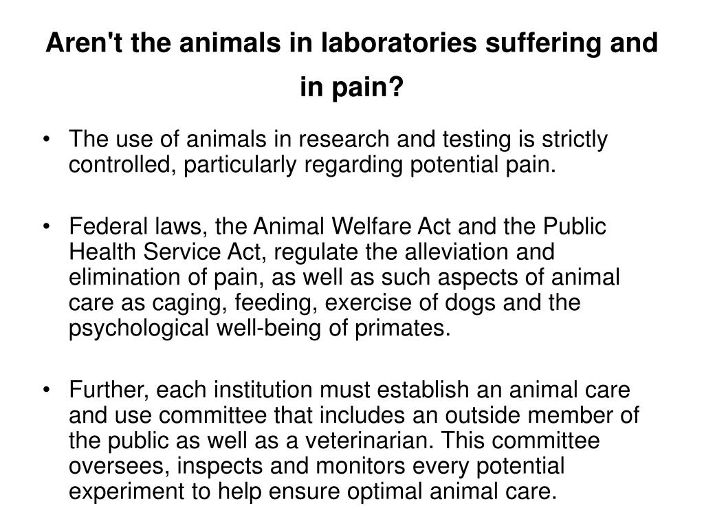 Aren't the animals in laboratories suffering and in pain?