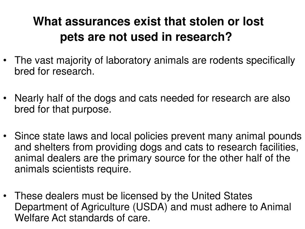 What assurances exist that stolen or lost pets are not used in research?