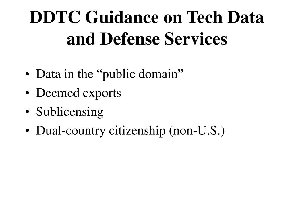 Ppt Export Of Defense Services And Technical Data Powerpoint
