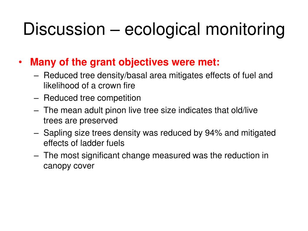 Discussion – ecological monitoring