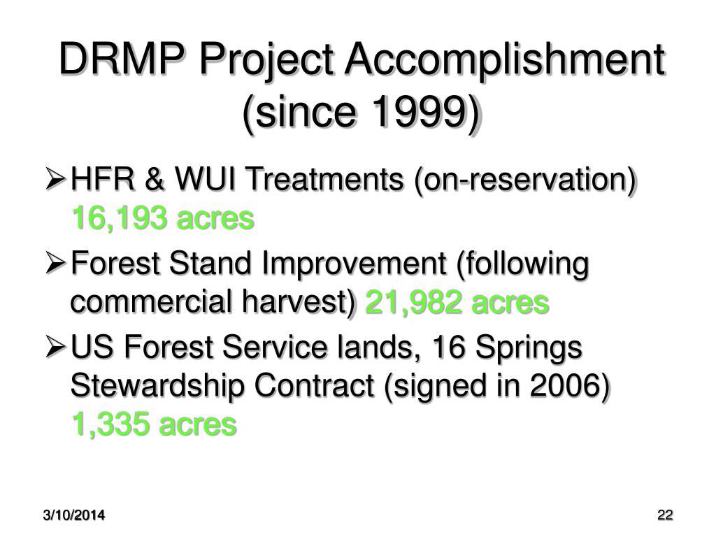 DRMP Project Accomplishment